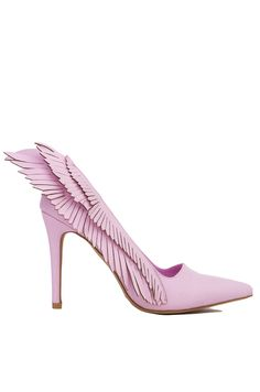 Y.R.U. Pink Angyl Wing Pointed Toe Pumps | Womens Shoes | AKIRA
