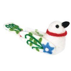 Global Crafts Handmade Set of Two Felt Alpine Lovebird Holiday Ornaments