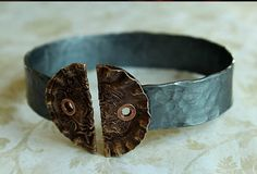 Gunmetal Gray SMASHED Knitting Needle BANGLE Bracelet  with Button Tips - Victorian Steampunk Style - LARGE size via Etsy