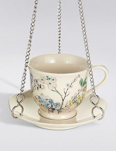 Small Hanging Teacup Bird Feeder