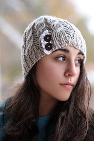 Beanie Hat- , Light beige, , Accordion lace , Wood buttons, Cable Knit, Knitted, Crochet, ivory lace   $18.00