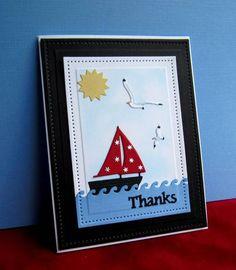 Paper Smooches: Marina Sailboats, IO: Seabirds, TE: Sun & Clouds, summer, marine, by catluvr2 at splitcoast