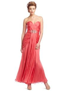 Abs Allen Schwartz Women's Strapless Sweetheart Shirred Dress, Coral, 8