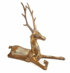 Hollywood Regency Brass Reindeer Statue on Chairish.com
