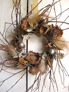 Winter Wreath  Elegant Holiday Wreath   Small by TheLinnetsWing, $37.00