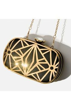 Black + Gold 'Deco' Clutch