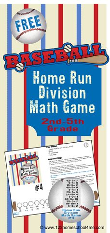 Make practicing divisionfun for2nd-5th graders with this FREE printable math game. Home Run Division is a cool math gameto help kids pract