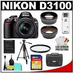 Nikon D3100 Digital SLR Camera & 18-55mm G VR DX AF-S Zoom Lens with 16GB Card + .45x Wide Angle & 2x Telephoto Lenses + Filter + Tripod + Accessory Kit