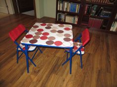 Recover a folding card table. Use a vinyl table cloth for a table that will be kept on the porch