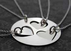 Mother & Daughter Jewelry - Hand Cut Heart Necklace Set for Three Daughters - Personalized Jewelry in Sterling Silver by EWD