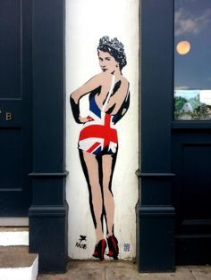 PEGASUS street art -Queen Elizabeth in Betty Grable pose with British Flag Graffiti 3d, Stencil Graffiti, Stencil Art, Street Art Graffiti, Graffiti Lettering, Graffiti Artists, Arte Banksy, Banksy Art, Bansky
