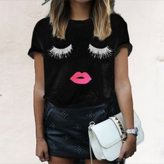 anna new arrival 2016 summer style elegant women Lashes Lip print simple loose shirt Casual The white neck Top T - Pandora Fashion
