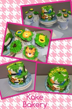 Jungle cake and cupcakes
