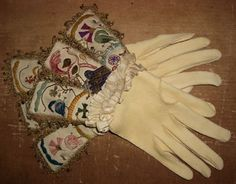 Oil tanned deerskin gloves with embroided silk cuffs by Karl Robinson Antique Clothing, Historical Clothing, Mens Gloves, Leather Gloves, Deerskin Gloves, Unique Costumes, Renaissance Costume, Deer Skin, Hand Warmers