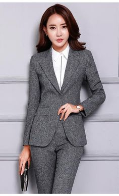 May 2019 - Women's Pant and Blazer Suit Simple Long Slim for Business Corporate Outfits, Business Casual Attire, Business Dresses, Professional Outfits, Formal Pants Women, Pants For Women, Clothes For Women, Stylish Summer Outfits, Classy Outfits