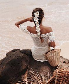 Crochet Off Shoulder Ruffles Lace Mini Dress, Wedding Bride Bridesmaid Dress, Festival Clothing . Knit Fashion, Boho Fashion, Beach Dresses, Summer Dresses, Blonde Bride, Boho Gown, Crochet One Piece, Mini Robes, Crochet Wedding