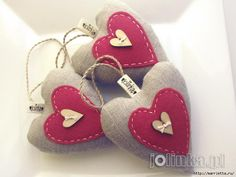 Textile hearts. Large collection of very beautiful Valentine.   http://jolinka.blogspot.com /