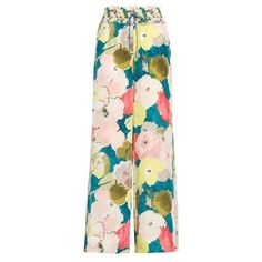 Women's Lafayette 148 New York Floral Silk Drawstring Pants (27.855 RUB) ❤ liked on Polyvore featuring pants, wide leg trousers, floral wide leg pants, pink wide leg pants, floral wide leg trousers and wide leg drawstring pants