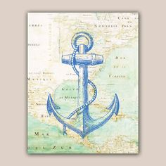 Nautical Blue Anchor Print, 11X14 print, old map Mexico golf print,  Marine  Nautical art, Coastal Living. via Etsy.