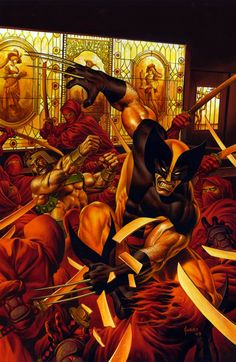 Wolverine & Hercules vs The Red Hand Ninjas by Joe Jusko