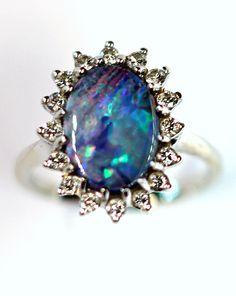 Vintage Boulder Opal and Diamond Ring