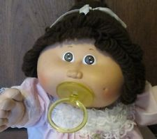 Vtg CPK CABBAGE PATCH KIDS Girl Doll brown hair PACI pacifier dressed P tag