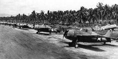 .S. Marine Corps (and maybe U.S. Navy) Grumman F4F-4 Wildcat fighters at Henderson Field, Guadalcanal, Solomon Islands in 1942.
