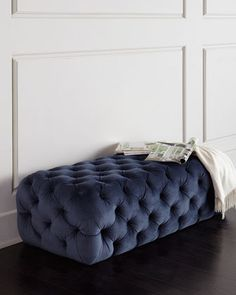 Best blue all over tufted bench