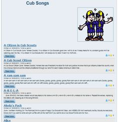 Tons of Cub Scout Songs, great for Pack Meetings