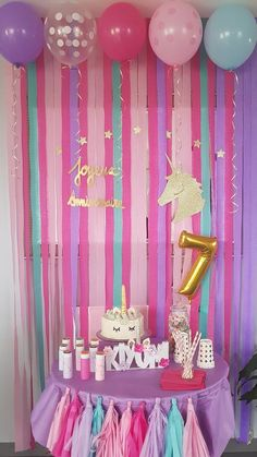 17 Trendy Ideas For Party Decorations Purple Birthday Unicorn Themed Birthday Party, Purple Birthday, Unicorn Birthday Parties, Girl Birthday, Purple Party, Pink Purple, Birthday Party Decorations Diy, Birthday Party Themes, Birthday Ideas