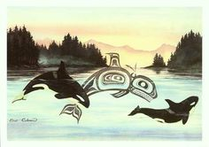 Sue Coleman, Orcas (killer whales) I love this painting! I have a small print of it on my wall.