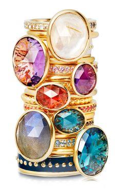 Astley Clake gemstone stacking rings... amethyst, garnet, topaz, labradorite & moonstone.