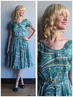 A personal favorite from my Etsy shop https://www.etsy.com/listing/549462603/1950s-dress-silk-paisley-dress-vintage