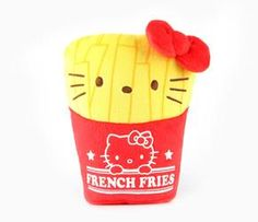 Hello Kitty is disguised as America's favorite side dish! This delightful 7 inch plush unzips and turns inside out to show Hello Kitty standing with a carton of french fries. Start off your reversible Hello Kitty collection with this yummy plush! Recommended for Ages 6 years and up.