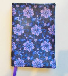 Fabric Paperback book Cover Purple Flowers by momssewingroom