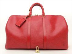 Louis Vuitton Auth Epi Leather Red Keepall 45 TRAVEL LUGGAGE Boston Duffle Bag #LouisVuitton #Satchel