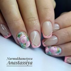 New french manicure designs gold pink nails ideas Cute Nails, Pretty Nails, My Nails, Hair And Nails, Nail Designs Spring, Nail Art Designs, Nail Art Fleur, Nagel Stamping, Floral Nail Art