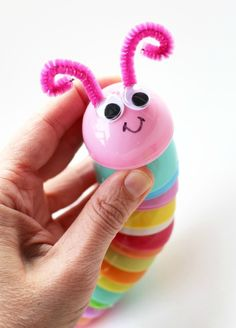 Awwww, what a cute homemade toy to make from plastic Easter eggs!