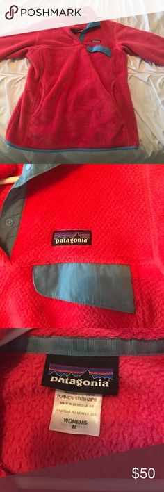 Patagonia Medium Snap-T Pullover Worn, but very good condition! Bright pink with blue detailing. Patagonia Other