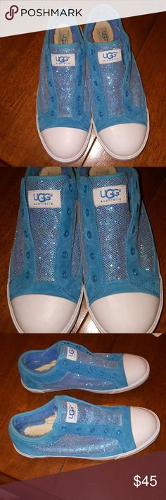 UGG teal sneakers, size 6 Upper is textile and leather, lining is textile and genuine sheepskin, console is rubber. Great condition. A few minor scuffs on white top. Not very noticeable. Sparkly on sides and top. A lot of wear remaining. Great color. No shoe strings. UGG Shoes Sneakers