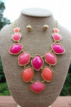 Peach Roots - Fuchsia/Coral Bib Style Necklace with Diamond Shaped Beads, $25.00 (http://peachroots.com/fuchsia-coral-bib-style-necklace-with-diamond-shaped-beads/)