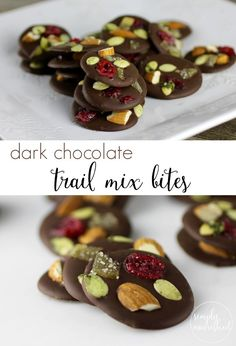 Dark Chocolate Trail Mix Bites || Grain-free, Gluten-free, Vegan || http://simplynourishedrecipes.com/dark-chocolate-trail-mix-bites/