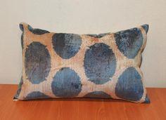 Ikat Velvet Pillow Cover - Handwoven Soft Decorative Navy Blue Polka Dots Velvet Ikat Cushion Throw Pillow Cover - Ikat Lumbar Pillow