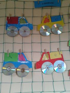 Crafts,Actvities and Worksheets for Preschool,Toddler and Kindergarten.Lots of worksheets and coloring pages. Old Cd Crafts, Fun Crafts, Crafts For Kids, Arts And Crafts, Recycled Cds, Recycled Crafts, Transportation Crafts, Truck Crafts, Cd Art