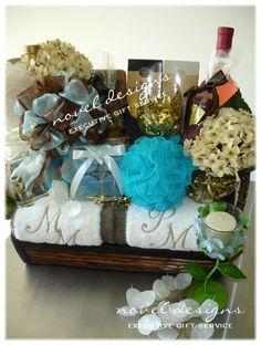 Custom Designed Spa #Wedding Gift Basket w/Embroidered Towels.  #LasVegas #Event #GiftBaskets