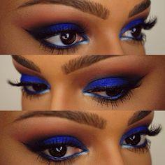 Gorgeous Makeup: Tips and Tricks With Eye Makeup and Eyeshadow – Makeup Design Ideas Dark Skin Makeup, Blue Eye Makeup, Eyeshadow Makeup, Blue Eyeliner, Eyeliner Pencil, Glitter Eyeshadow, Blue Eyeshadow Looks, Eyeshadow Palette, Cream Eyeshadow