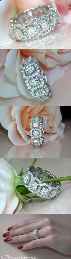 High-end Diamond Eternity Ring in WG18K, set with Emerald Cut 25-Pointers and Full Cut Diamonds, total carat weight: 3,99 ct. #DiamondEternityRings