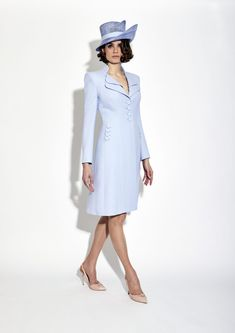 A striking mandarin collar leads down to a flattering clinched waist with charming detailing and trio of buttons on the pockets and cuffs – a classic Catherine Walker & Co. coatdress in periwinkle blue. Mother Of The Bride Fashion, Mother Of Bride Outfits, Jumpsuit Dress, Coat Dress, Shirt Dress, Blazer Dress, Catherine Walker, Royal Clothing, Occasion Wear