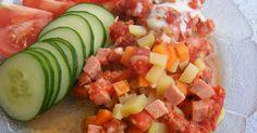 Gammal hederlig falukorv. Ketchup, Fruit Salad, Cantaloupe, Watermelon, Food, Tips, Fruit Salads, Essen, Meals