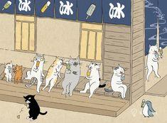 喵星人的四季与生活日常   台湾插画师猫小姐@Ms. Cat 浮世绘风格的猫咪插画 - 手工客,高质量的手工,艺术,设计原创内容分享平台 I Love Cats, Cool Cats, Cat City, Japanese Cat, Cool Paintings, Indian Paintings, Abstract Paintings, Artist Sketchbook, Art Graphique